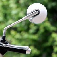 Espelho redondo branco para moto  1 par de espelhos 10mm 8mm de parafuso  moto  rbike  espelhos laterais  backup universal retrovisor de scooter