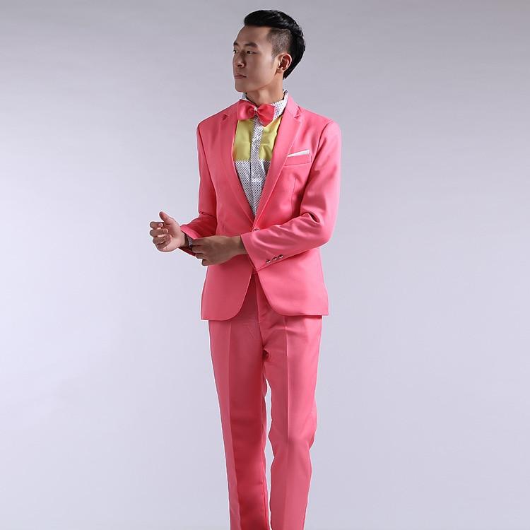 2019 Men's Wedding Suit Wedding Groom Wear Powder / Red / Yellow / Blue / Green Suit Business (Jacket + Pants)