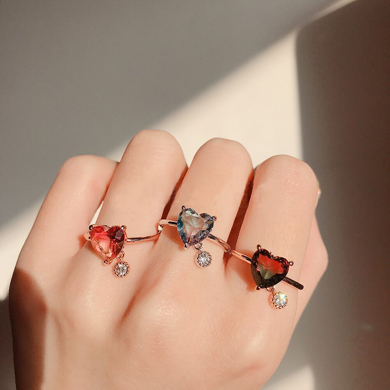 MENGJIQIAO Cubic Zircon Finger-Jewelry Square Crystal Heart Rings For Fashion Women Party title=