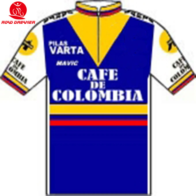 a3dbdba2d 1985 old style Tour de Cafe Colombia cycling jersey Short sleeved clothes  Summer MTB Bicycle team jersey Ropa ciclismo maillot
