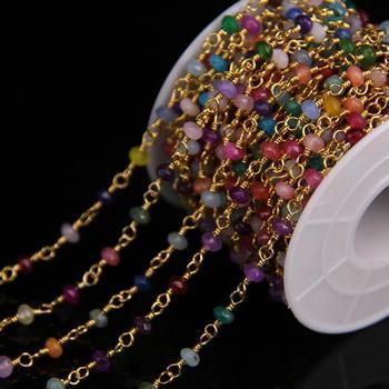 Cadena de Rosario de Jades de color mixto de Malasia, cadena de latón con cuentas de Ábaco de Rondelle facetadas de 2x4mm, collar de pulsera, joyería