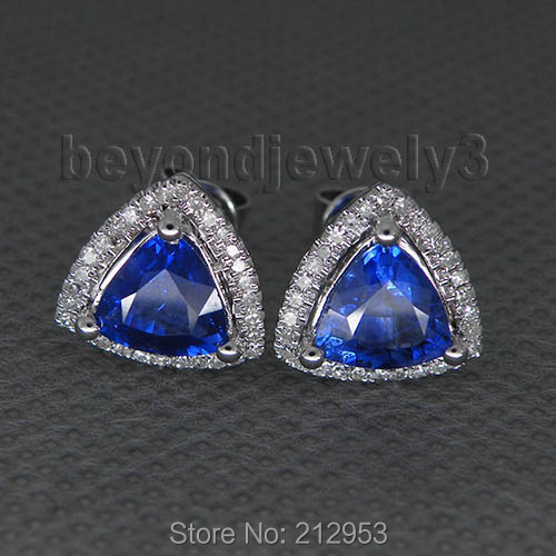 Solid 14k White Gold Trillion Diamond Earrings Aaa Tanzanite Natural Gemstone For