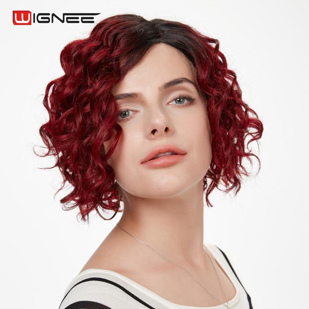Wignee Ombre Red Color Brazilian Human Hair Wig For Black Women Remy Hair Side Part 150% Density Short Human Wigs  Drop Shipping