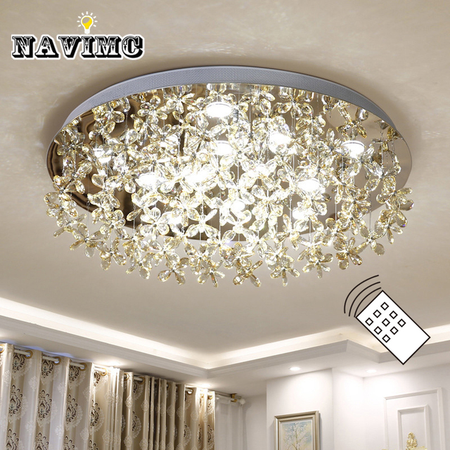 Modern Led Crystal Large Round Erfly Ceiling Light For Living Room Bedroom Decoration Lamp Indoor