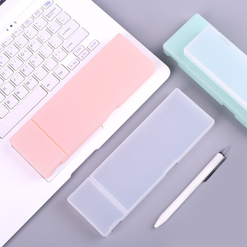 BLINGIRD Korea Stationery Two Sizes Concise Solid Translucent Simple Style Pure Color Pencil Box Student Articles Pencil Case