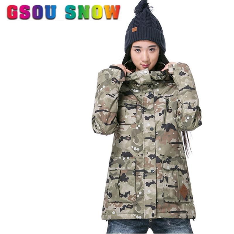 GSOU SNOW Brand Ski Jacket Women Ski Suit Camouflage Snowboard Jacket  Waterproof Breathable Skiing Snowboarding Snow Coat #1508 - Snowboarding Outfits Women Promotion-Shop For Promotional