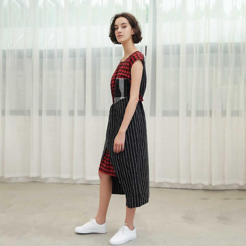 TWOTWINSTYLE платье в клетку для женщин без рукавов в полоску лоскутное асимметричный карман платья для Женский негабаритных летняя повседневная одежда