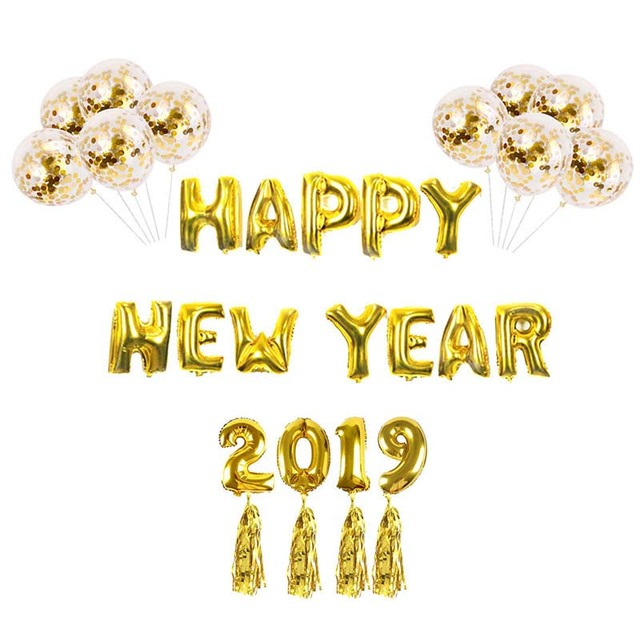 happy new year decoration gold confetti ballons ribbon banner tassel new years eve party decor for