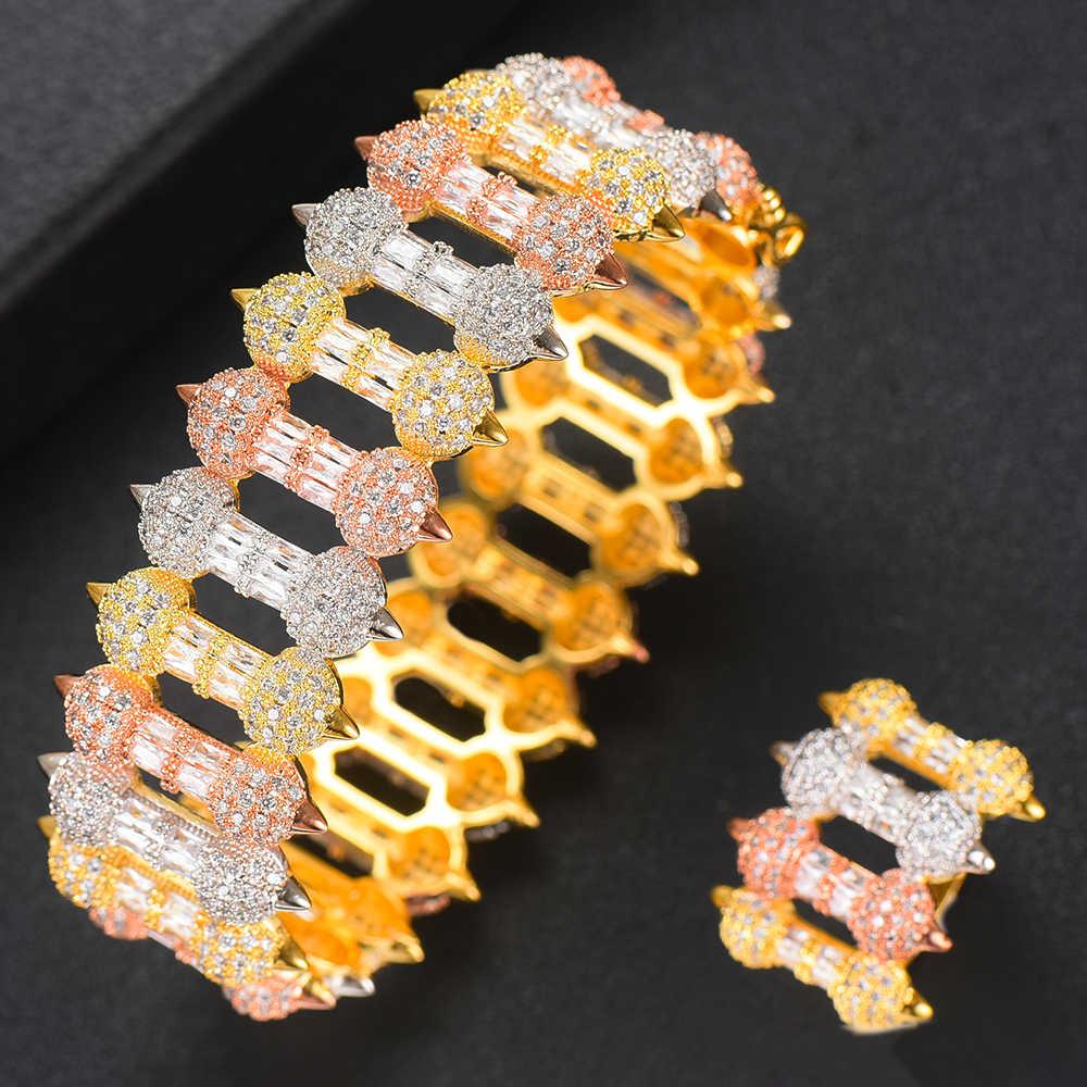 GODK 2 ชิ้นกำไล/แหวน Cubic Zirconia กำไลข้อมือปรับขนาดได้แหวนอินเทรนด์ผู้หญิง Patry แต่งงานชุดเครื่องประดับ