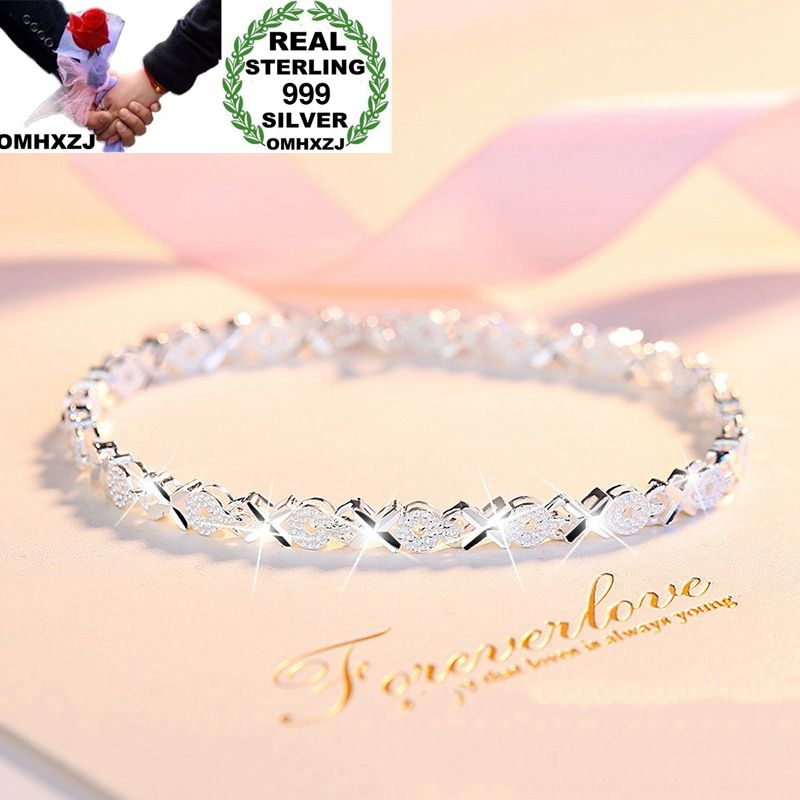 OMHXZJ Wholesale European Fashion Woman Girl Party Wedding Gift Shiny Silver OX 999 Sterling Silver Bracelet BA77