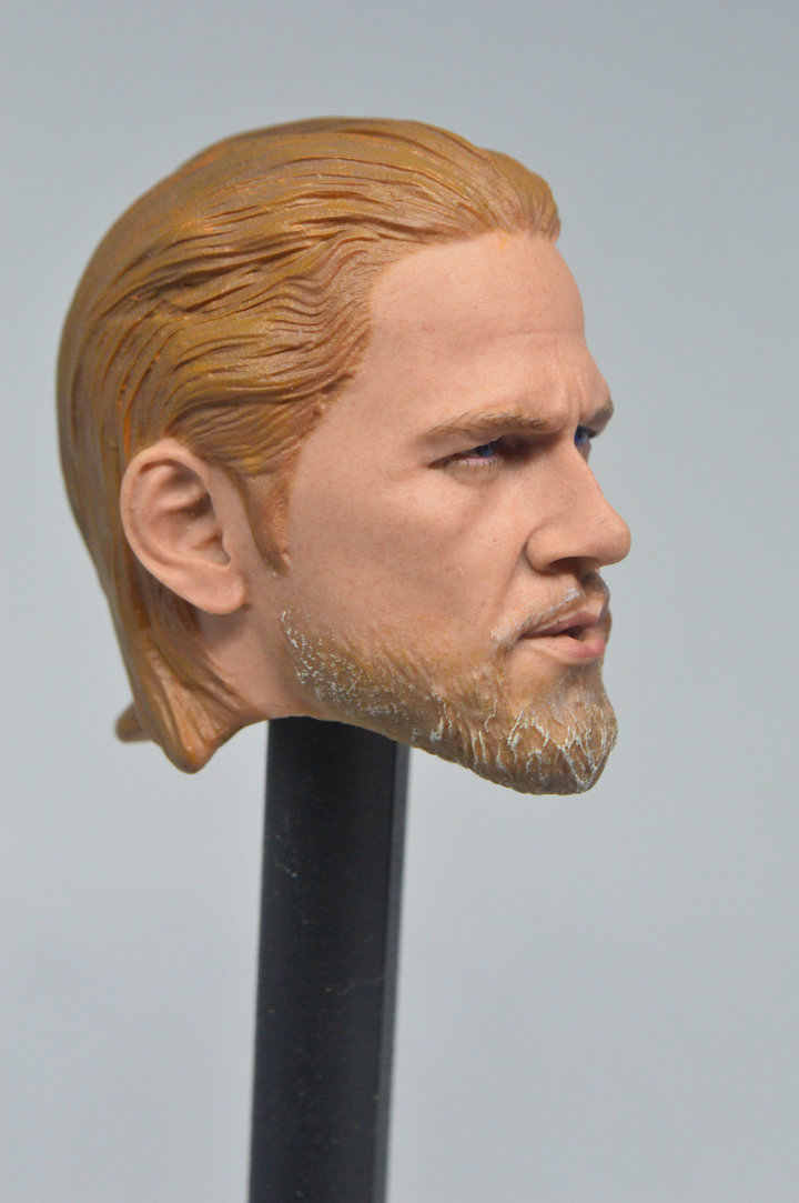 """1//6 Scale Sons of Anarchy Charlie Hunnam Head Carved F 12/"""" Male Figure Doll"""