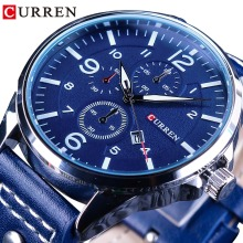 CURREN 2018 Fashion Design Calendar Display Blue Genuine Leather Belt Mens Watches Top Brand Luxury Men Quartz Sport Wrist Watch