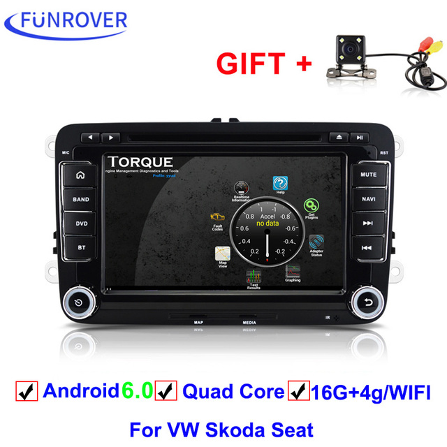 US Camera 8 Android 6 0 Car DVD Player Stereo GPS for VW Skoda Seat Bluetooth A