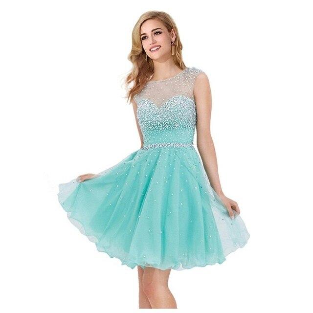 Knee Length O-Neck Homecoming Dresses 2016 Beading Vestido Curto Turquoise Homecoming Dresses 8th Grade Graduation Dresses