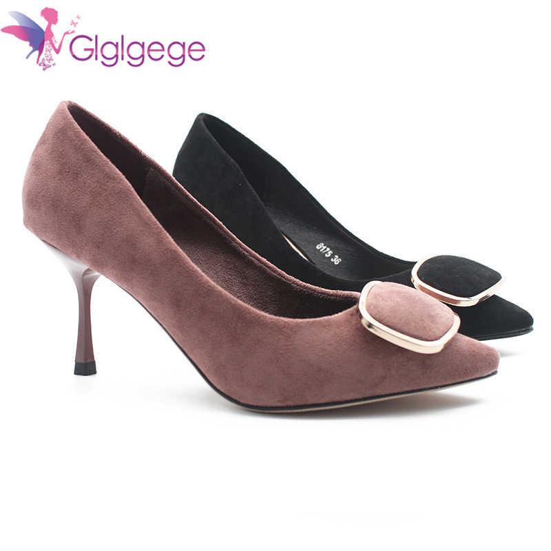Glglgege 2019 Yeni Moda tasarım ayakkabı Metal Toka Modelleri Yüksek Topuklu Sandalet Çanta Ayak Pompası 6 cm topuk Ve Akın Bahar ayakkabı