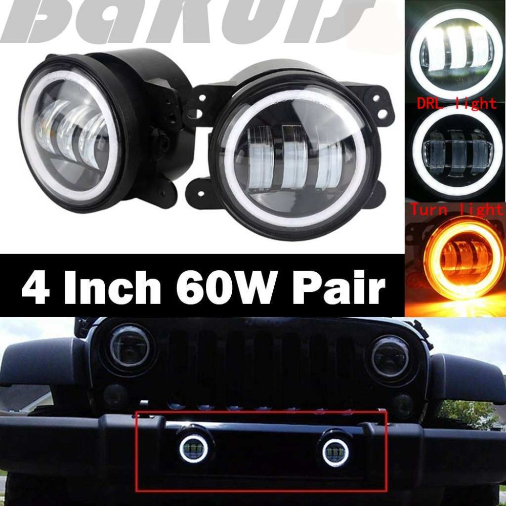 4 Inch Round Led Fog Light White Halo Ring Angel Eyes & White Lamp DRL Bulb Angle Eyes For Jeep Wrangler JK TJ LJ Grand Cherokee windshield pillar mount grab handles for jeep wrangler jk and jku unlimited solid mount grab textured steel bar front fits jeep