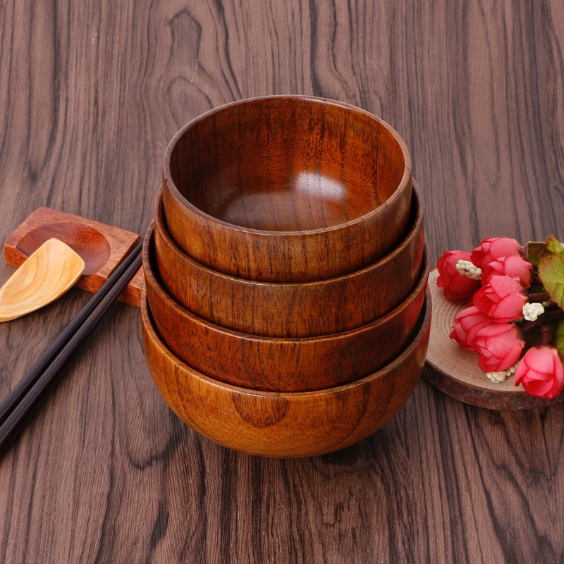 Natural Jujube Wooden Rice Soup Bowl Food Container Kitchen Utensil Tableware