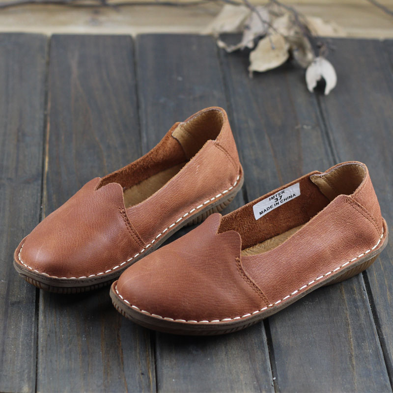 Women's Shoes Made of Genuine Leather Round toe Slip on Ladies Flat Shoes Moccasins Women Shoes Autumn Footwear (500680-7) women s shoes genuine leather ladies loafers round toe slip on women flat shoes 2018 autumn female footwear w9688 1