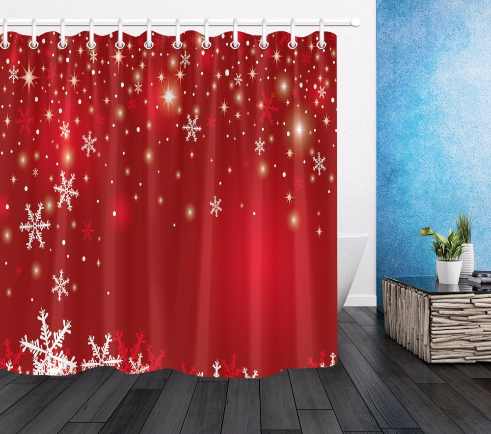 Us 14 29 45 Off White Snowflake Red Shower Curtain Luxury Bathroom Waterproof Mildew Resistant Extra Long Polyester Fabric For Art Bathtub Decor In