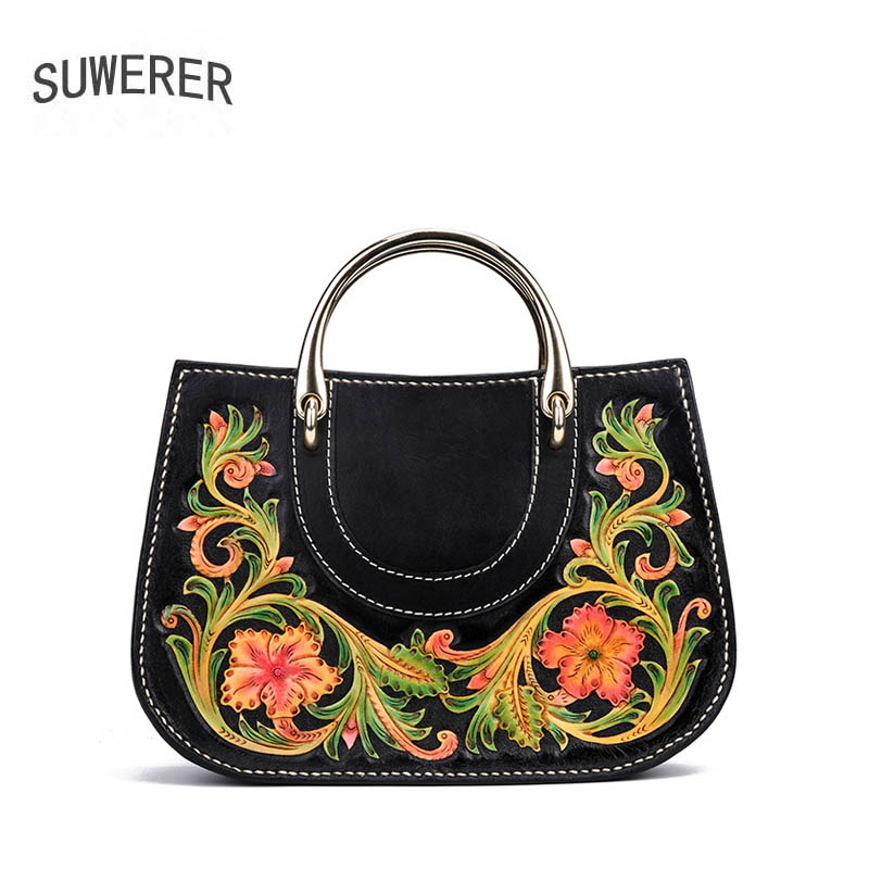 SUWERER 2019 New Women Genuine Leather bags Handmade Carved luxury fashion real cowhide women bags designer women famous brandsSUWERER 2019 New Women Genuine Leather bags Handmade Carved luxury fashion real cowhide women bags designer women famous brands
