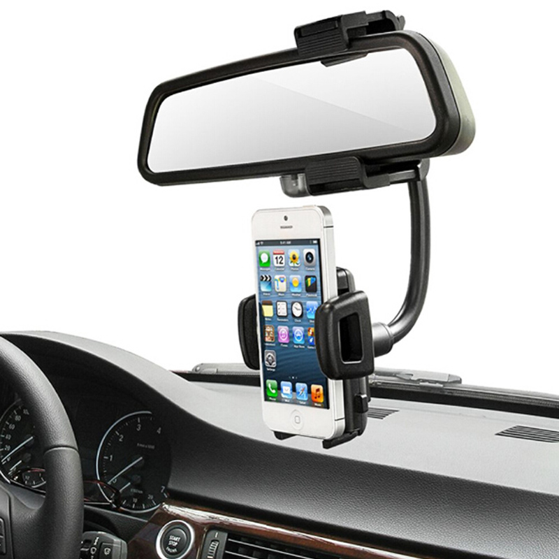 Abbery Universal Car Rearview Mirror Mount Cell Phone Holder Bracket Stands Cradle For iPhone7plus Samsung Xiaomi GPS Smartphone