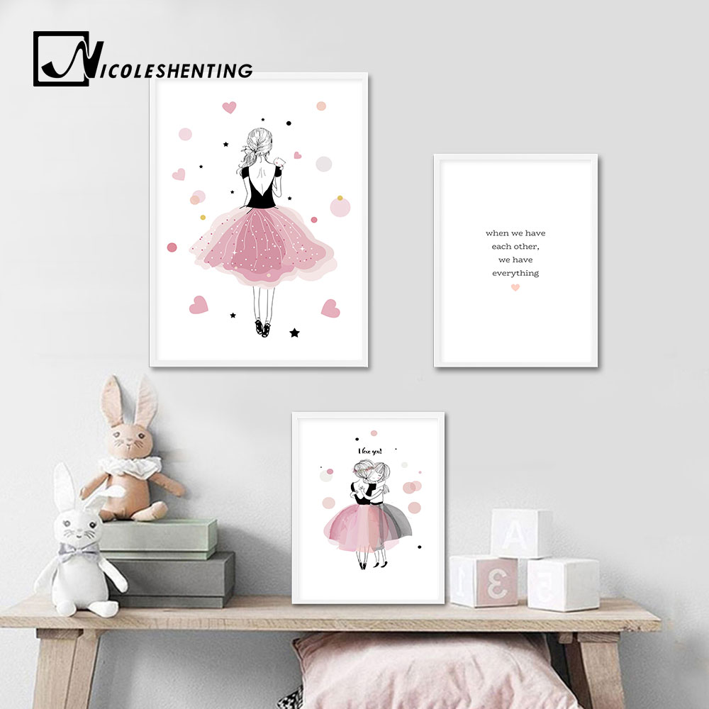 US $2.91 48% OFF|Kawaii Baby Girl Nursery Wall Art Canvas Poster Pink  Cartoon Prints Painting Nordic Kids Decoration Pictures Girls Bedroom  Decor-in ...