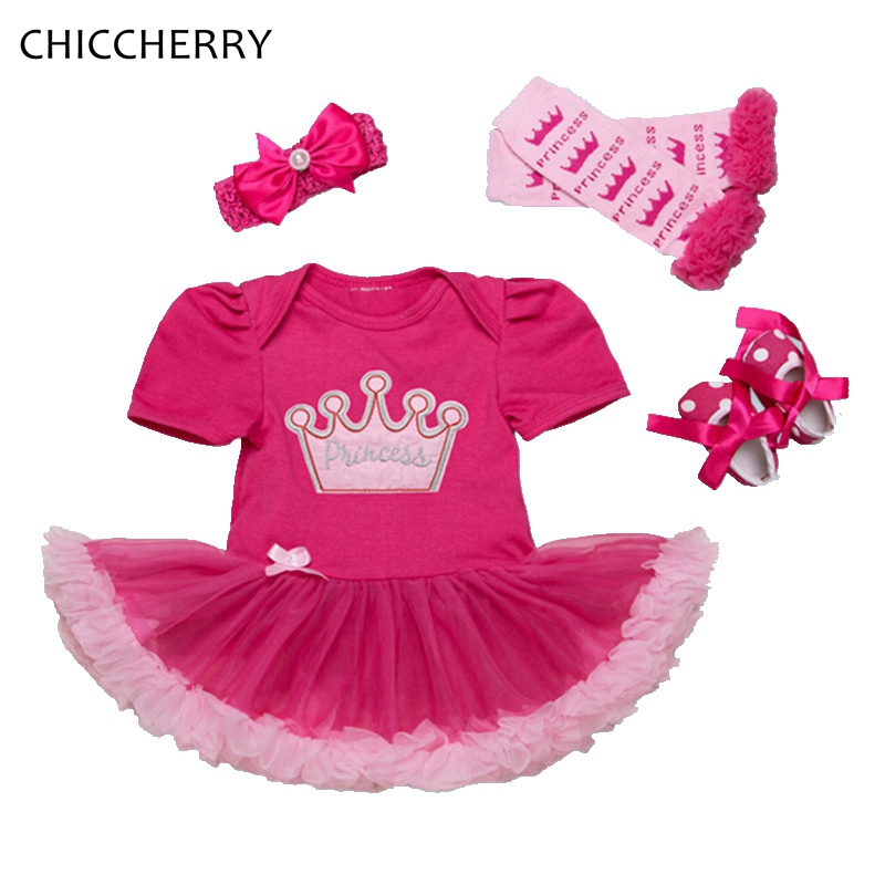 Crown Princess Vintage Baby Girl Romper Set Tutu Headband Leg Warmers 1 Year Birthday Dress Vestido Menina Party Bebe Lace Tutus crown princess 1 year girl birthday dress headband infant lace tutu set toddler party outfits vestido cotton baby girl clothes