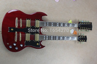 Hot Selling 6strings and 12 strings double neck g shop custom SG electric guitar in red color free shipping 150708