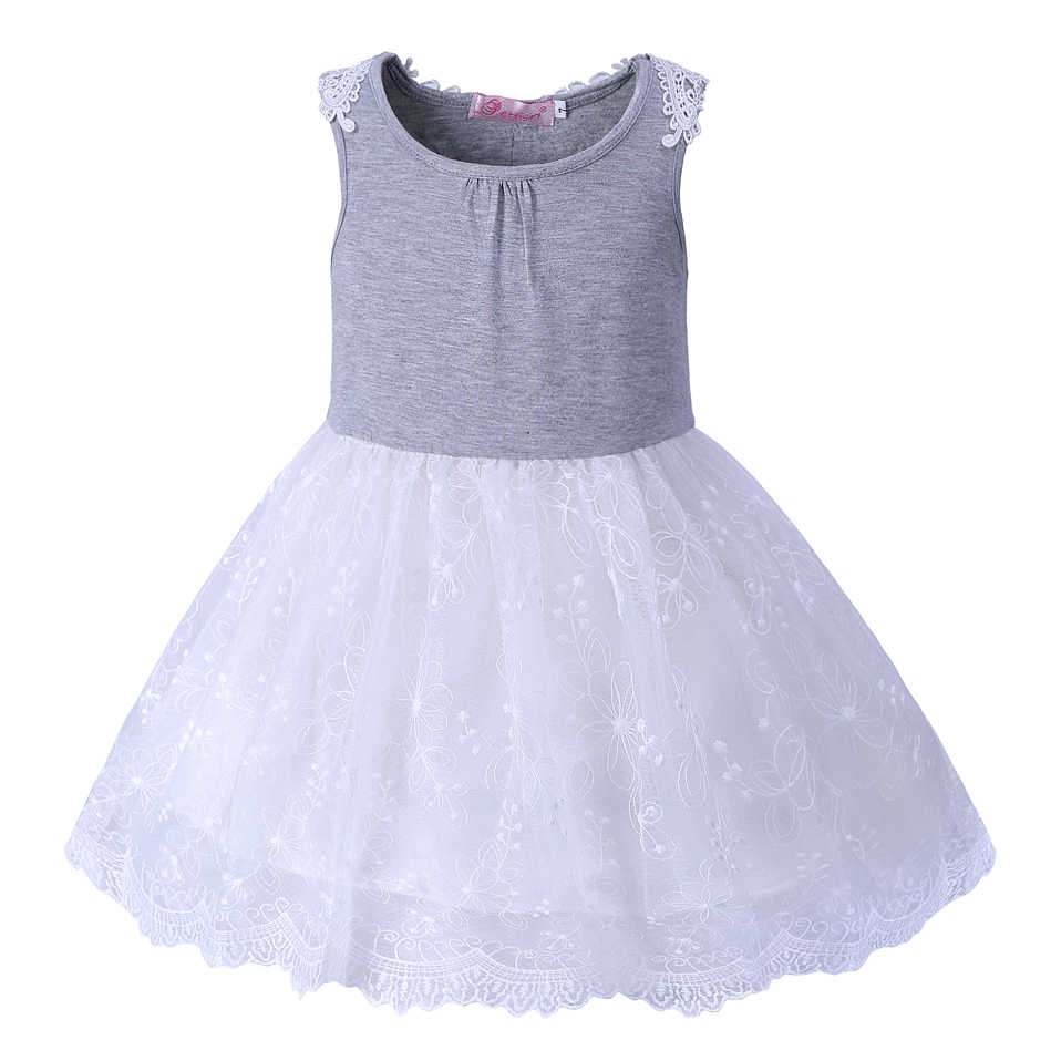 Pettigirl Summer Sleeveless Girl Princess Dress Gray Lace Baby Girl Dress  Casual Kid Costumes For Girls d9bd5758d3d4
