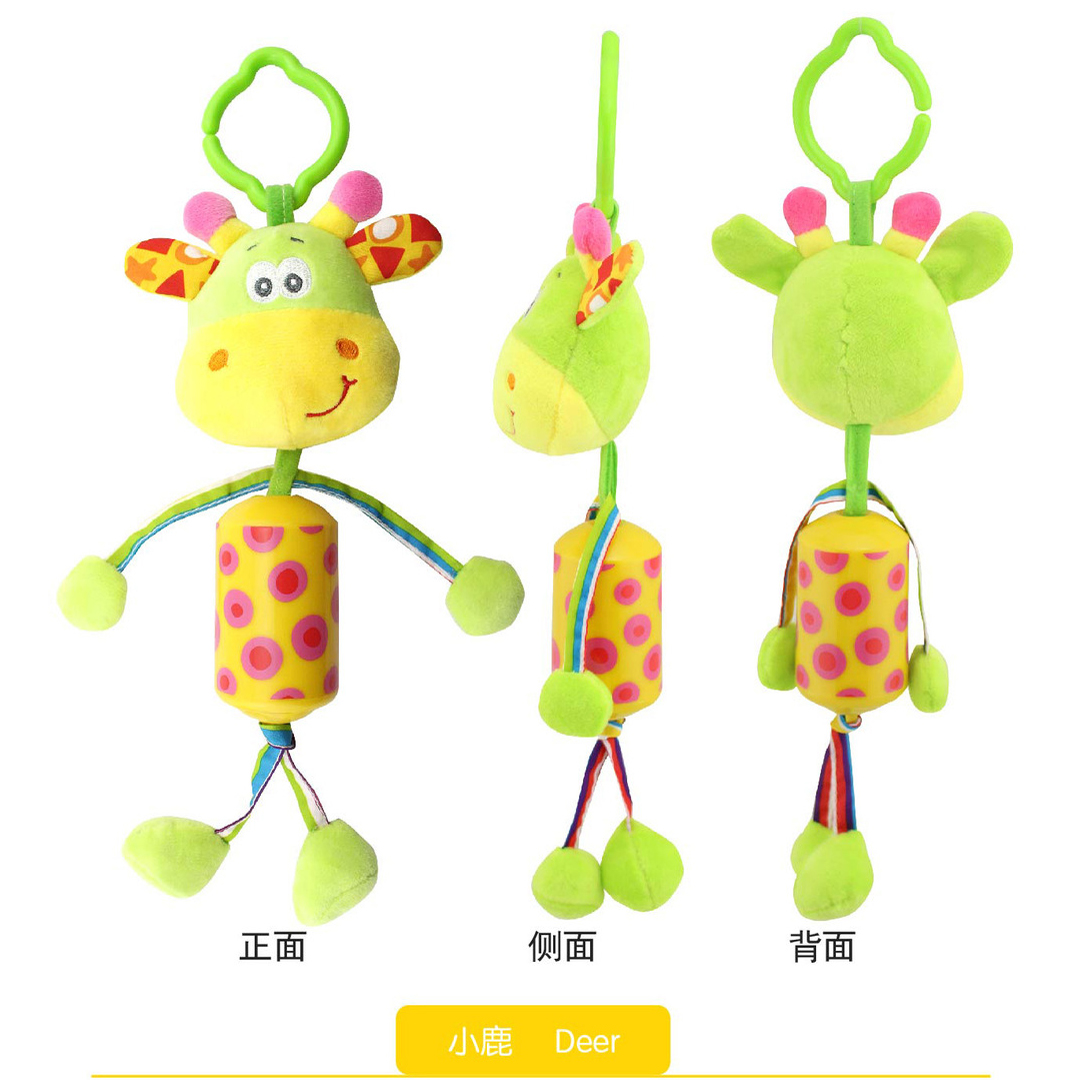 Baby Crib Stroller Rattle Toy Cartoon Animals Plush Infant Hanging Rattle Ring Bell Bed Pram Baby Toys for Children birth gift