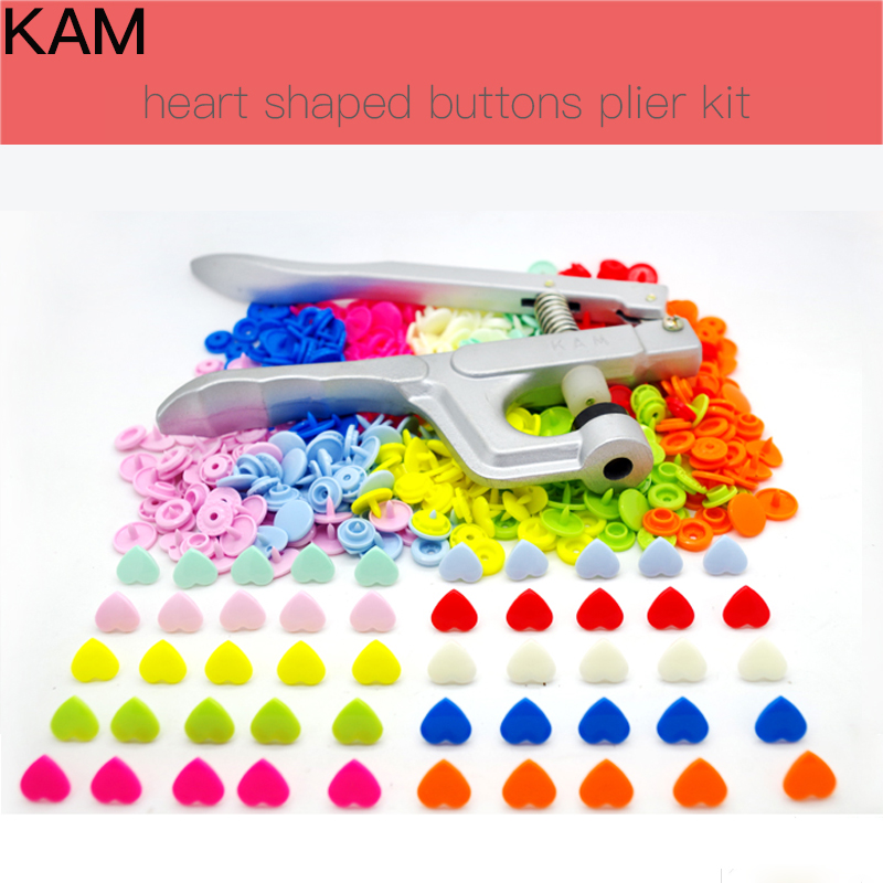 200sets 10 Colors mixed } KAM Brand Heart Shaped and one KAM