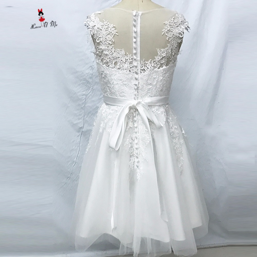 Cap Sleeve Tea Length Wedding Dresses 2018 Vintage Sheer Back Tulle ...