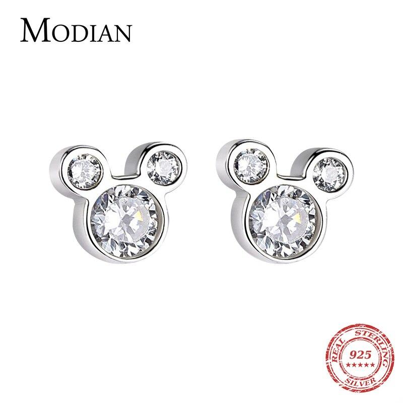 Modian New Arrival Cute 925 Sterling Silver Bear Animal Bear Clear Cubic Zirconia Fashion Stud Earrings For Women Silver Jewelry