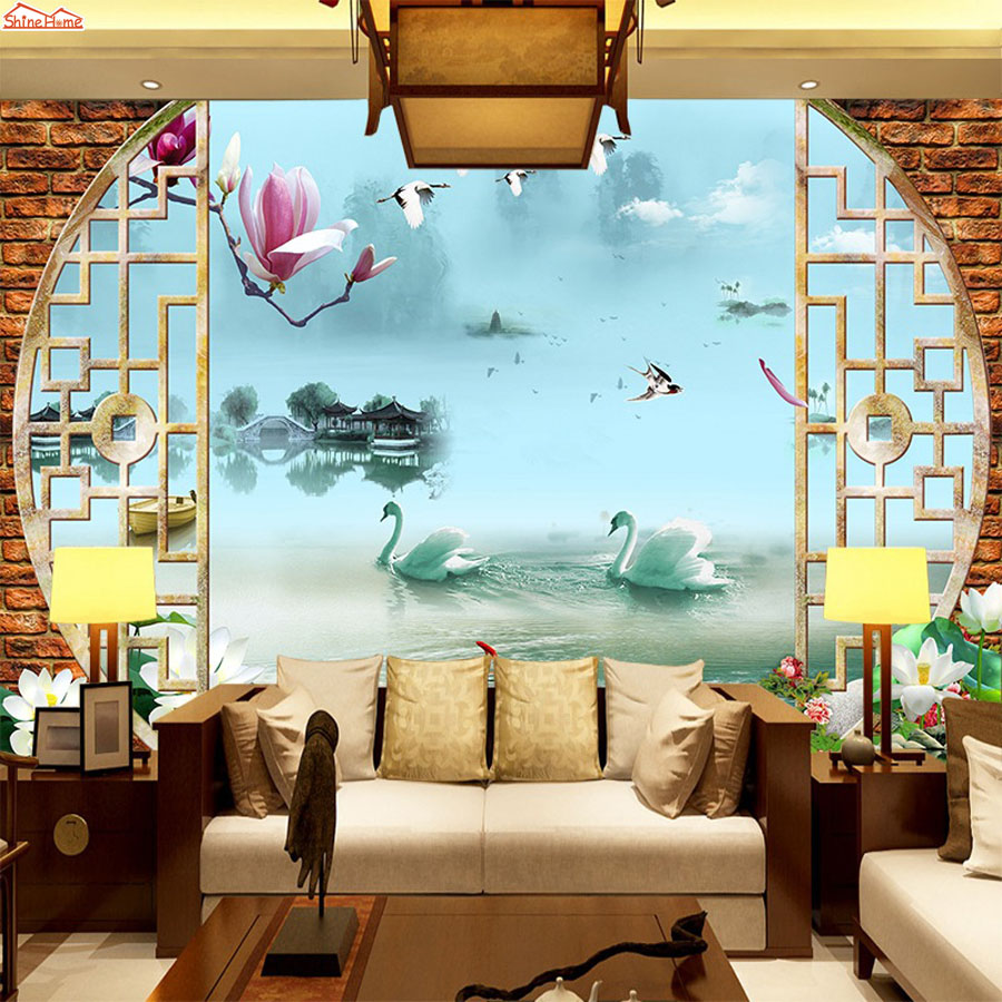 ShineHome-Chinese Style Swan Lake Wallpaper Roll 3d Wallpapers for Wall 3 d Walls Paper Rolls Papier Peint papel de parede 3d shinehome skyline sea wave sunset seascape wallpaper rolls for 3d walls wallpapers for 3 d living rooms wall paper murals roll