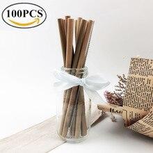 100 шт./лот бамбуковая соломка натурального органического многоразовый бамбуковый соломинки Cleaner 19,5 см 23 см Bamboe набор соломинок для оптовая продажа