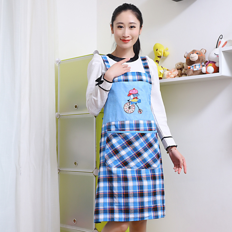 wonderful Protective Clothing In The Kitchen #4: Sleeveless Straps Apron Adult Protective Clothing Fashionable Home Grid Kitchen Overall Waterproof Antifouling Cotton(China