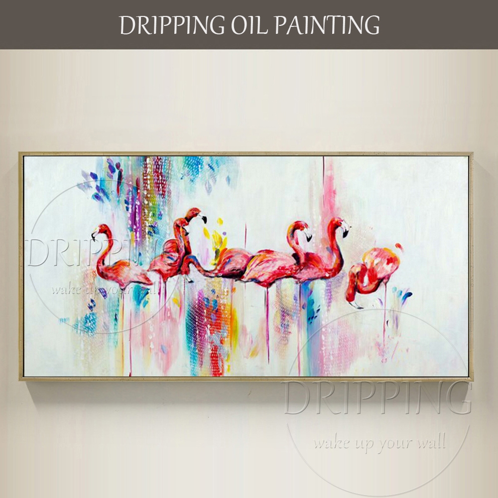 Artiste peint à la main de haute qualité Art mural rose Animal peinture à l'huile sur toile moderne Flamingo peinture à l'huile rose oiseau peinture