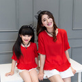 Family clothing sets 2016 summer red chiffon ruffle T-Shirt + white shorts Pants 2 PCS set Mother and daughter Girls clothing