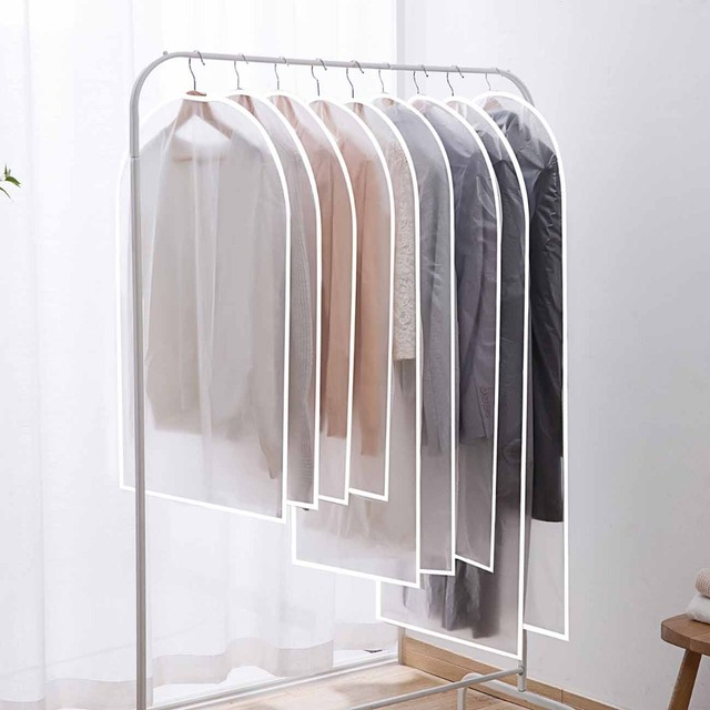 OTHERHOUSE 5Pcs PEVA Clothing Dust Cover Garment Bag Cloth Hanging Organizer Suit Coat Waterproof Protector Closet Storage Bags