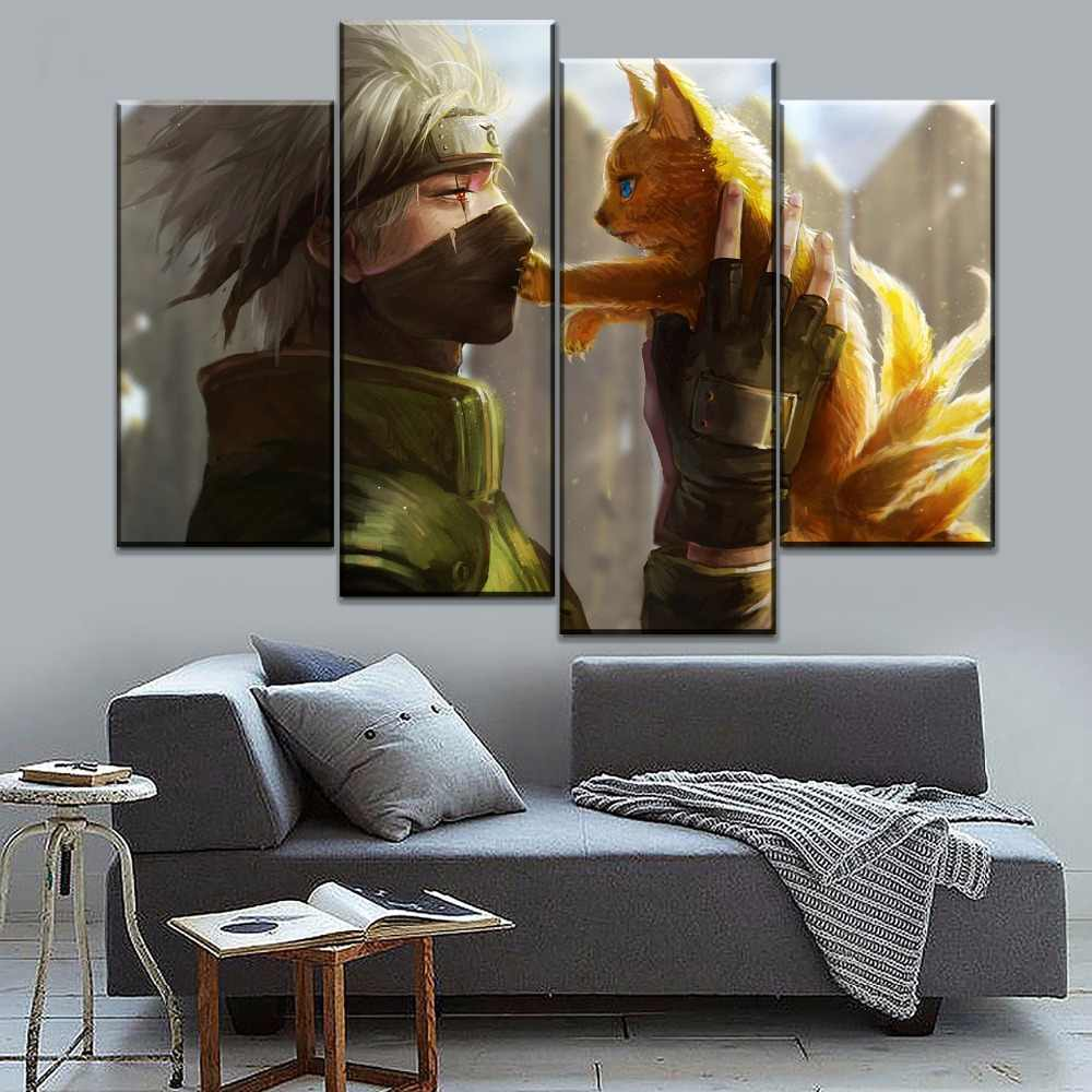 Canvas Prints 4 Piece Anime Naruto Kakashi Hatake And Kyubi Poster Decor Modular Framework For Living Room Wall Art Painting