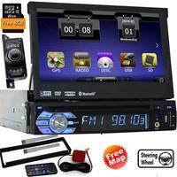 Один Дин Электронный ПК кассеты dvd плеер gps навигации в тире съемная передняя Панель автомагнитолы аудио стерео + камера