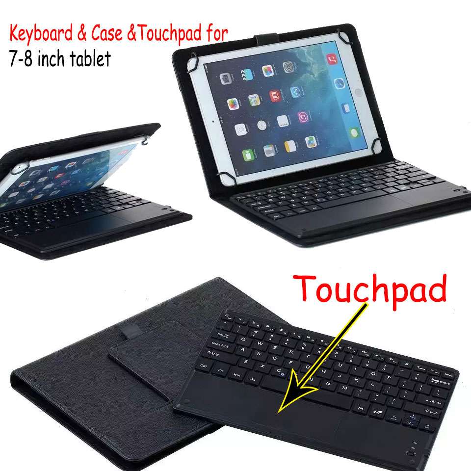 Universal Dechatable Bluetooth Keyboard w/ Touchpad & PU Leather Case Cover For Lenovo Tab 3 7 730F 730M 730X 7'' universal 61 key bluetooth keyboard w pu leather case for 7 8 tablet pc black