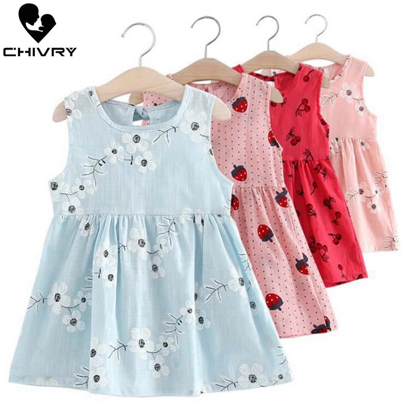 Детские летние платья детское хлопковое и льняное платье трапециевидной формы без рукавов с цветочным принтом для маленьких девочек летние платья для девочек