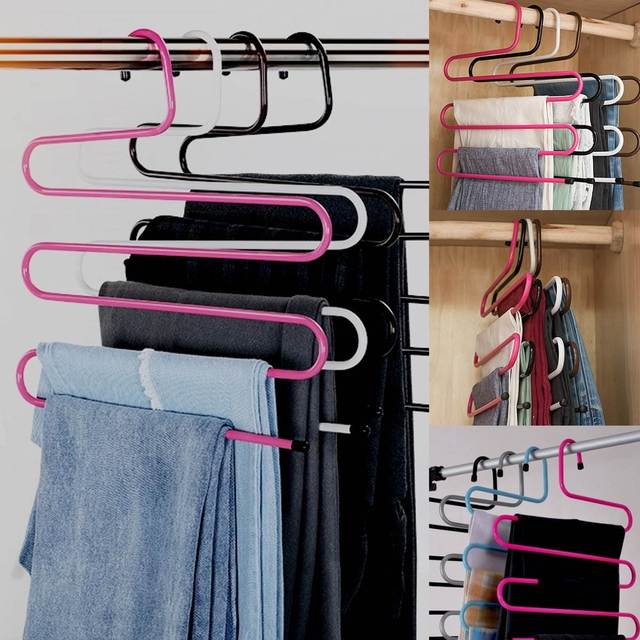 Charmant Pink S Type Clothes Pants Scarf Hanger 5 Layers Storage Rack Closet Space  Saver Hangers Hooks