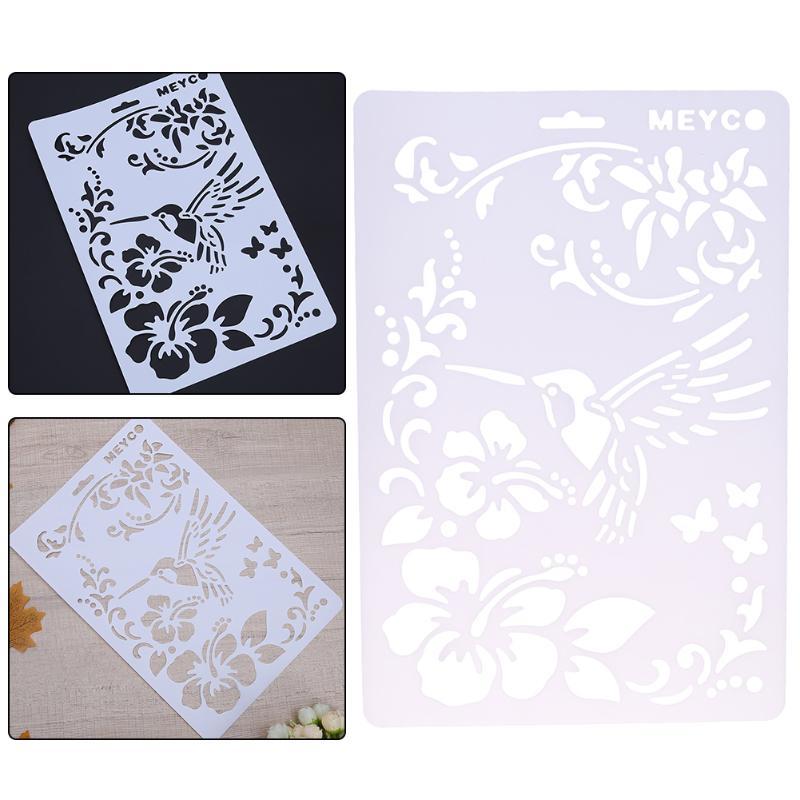 Bird Flower Pattern Plastic Stencils For Painting DIY Scrapbooking Craft Layering Templates Wall Spray Drawing Card Pochoir