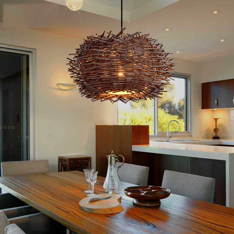 Birds nest chandelier lights rattan lamp with incandescent bulbs birds nest chandelier lights rattan lamp with incandescent bulbs creative personality restaurant balcony lamp bar lights 060922 in pendant lights from mozeypictures Image collections