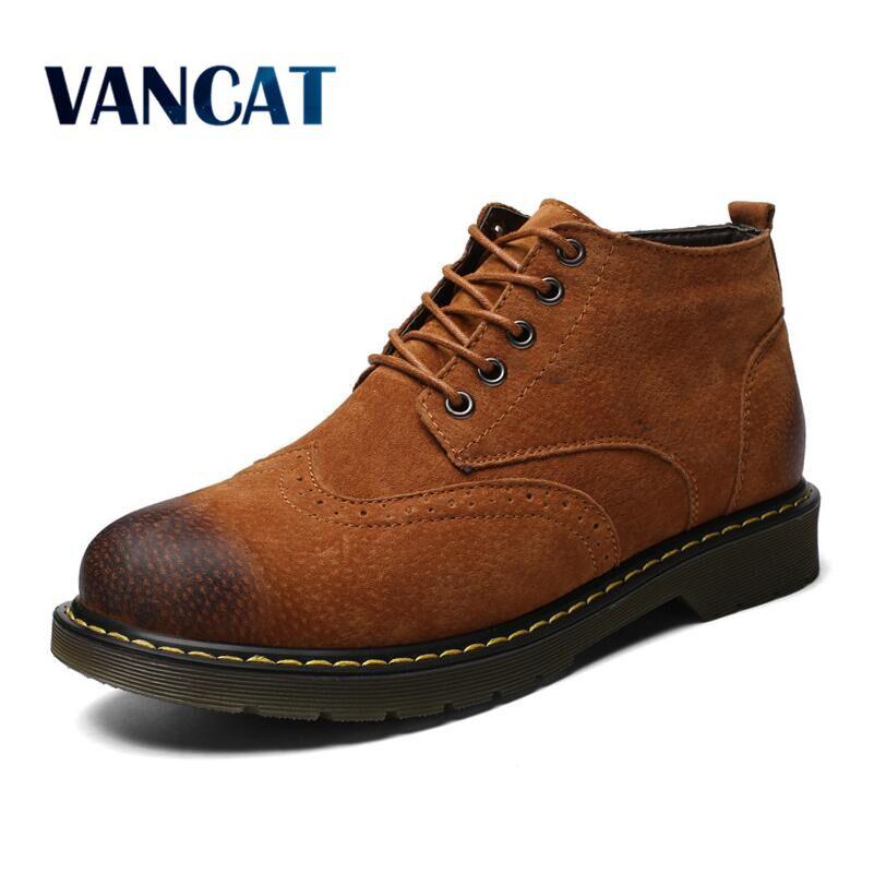 Vancat Genuine Leather Men Boots Autumn Winter Ankle Boots Fashion Footwear Lace Up Fur Snow boots Men High Quality Men Shoes