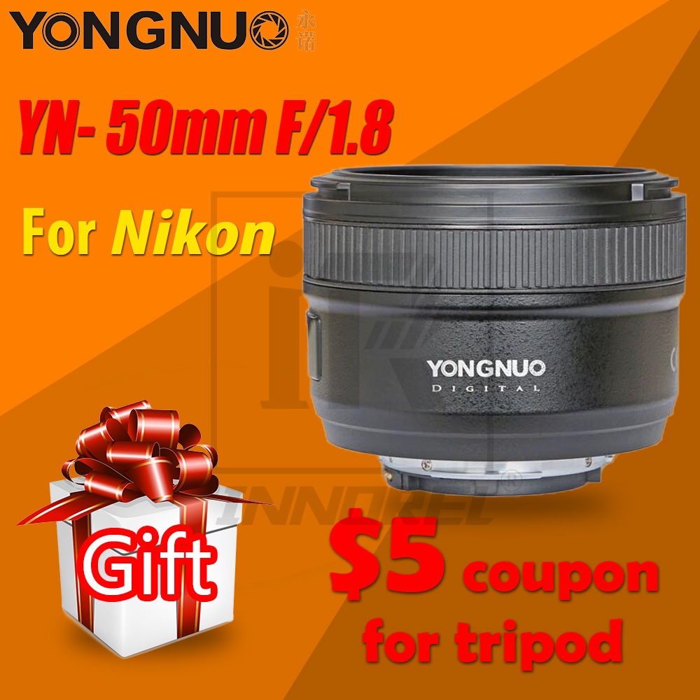 Объектив для камеры YONGNUO YN50mm F1.8 MF YN 50 мм f/1,8 AF, диафрагма YN50, автофокус для NIKON D5300 D5200 D750 D500 DSLR
