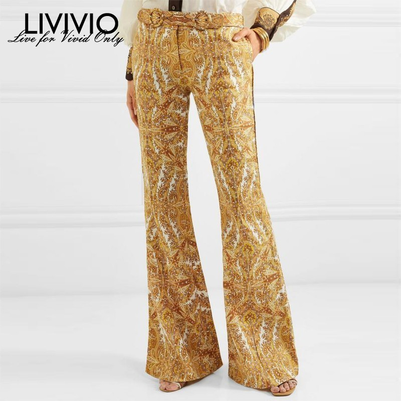 [LIVIVIO] ZIM Vintage Floral Print Flare Pants with Belt Women 2019 Linen Trousers Long Bell Bottoms Female Fashion New Arrival
