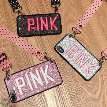 Luxury PINK Glitter Embroidery Phone Case for iPhone 7 7Plus Wave Point Lanyard Soft Case For iphone XS Max XR 8 6 6s Plus Case embroidery